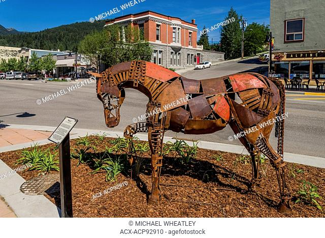 Rusty the Horse sculpture, by Nelson based artist Cedar Mueller, Rossland, British Columbia, Canada