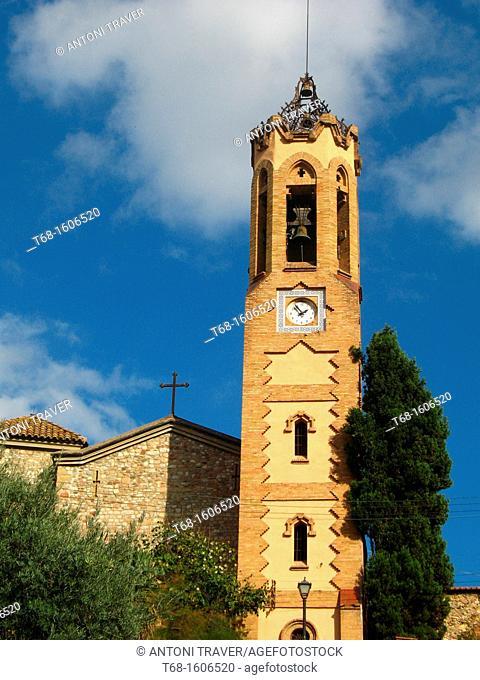 Belfry of the Church of Sant Esteve, Ripollet, Barcelona province, Catalonia, Spain