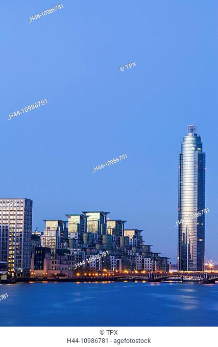 England, London, Vauxhall, Saint George Wharf and Vauxhall Tower at Dawn