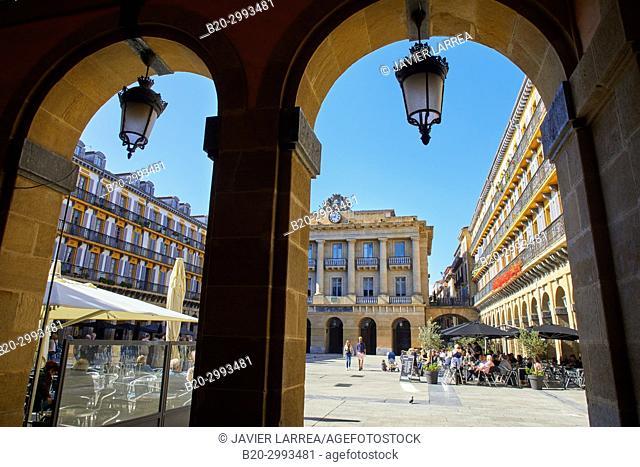 Plaza de La Constitución, Old Town, Donostia, San Sebastian, Gipuzkoa, Basque Country, Spain, Europe