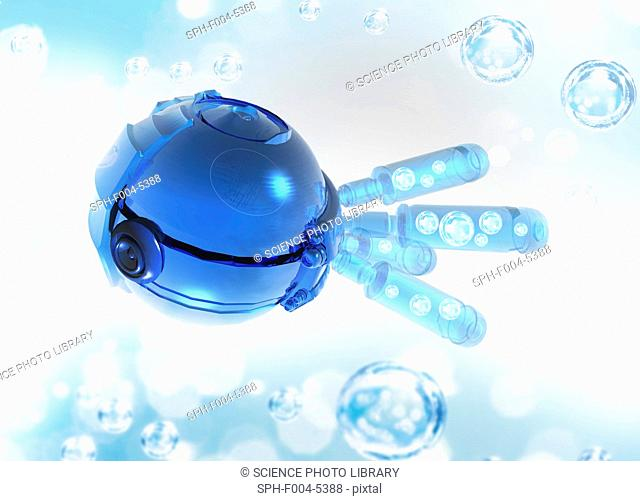 Nanorobot, conceptual computer artwork
