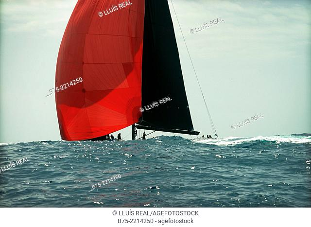 Maxi Race Menorca. View of a sailboat race Wally Class, during a competition in the Mediterranean Sea, Menorca, Balearic Islands, Spain