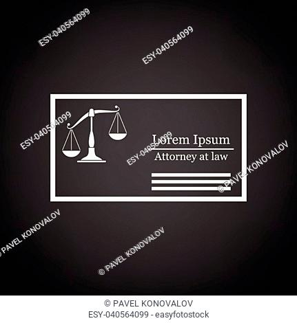 Lawyer business card icon. Black background with white. Vector illustration