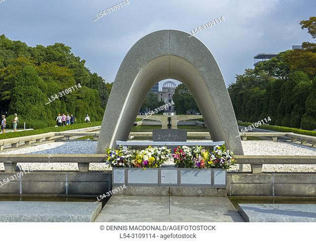 Cenotaph Memorial to Atomic Bomb Victims In Hiroshima Peace Park Japan Asia