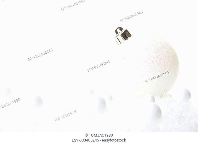 christmas, decoration with christmas bauble white