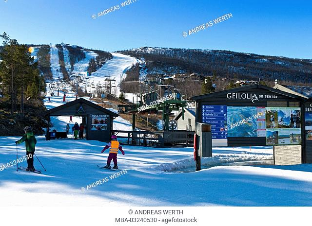 Ski slope, skier, ski centre of Geilolia, winter sports place Geilo, snow-covered mountain landscape, winter, Buskerud, Norway