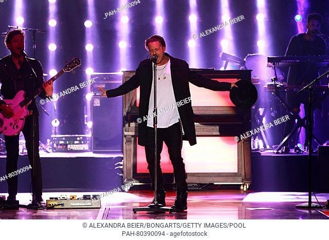 MUNICH, GERMANY - MAY 14: Singer Ryan Tedder from music band OneRepublic performs at the FC Bayern Muenchen Bundesliga Champions Dinner at the Postpalast on May...