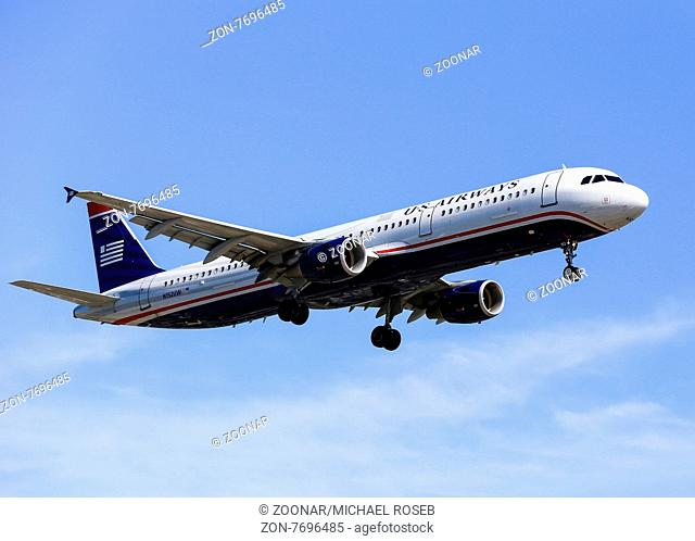 Los Angeles, USA - May 30, 2015: An airplane of US Airways (Airbus A321) landing at Los Angeles International Airport