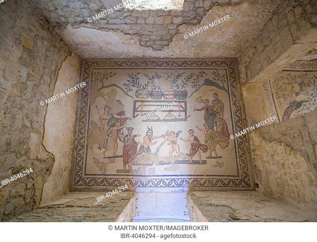 Ancient Roman mosaic, devils and angels, Villa Romana del Casale, UNESCO World Heritage Site, near Piazza Armerina, Province of Enna, Sicily, Italy