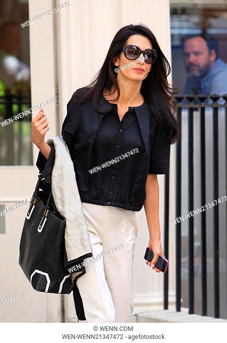 Amal Alamuddin, fiance of George Clooney, visits the John Freida salon in central London Featuring: Amal Alamuddin Where: London