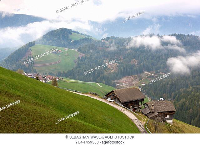 View above Val Badia towards Kronplatz Plan de Corones, San Martino In Badia, Trentino-Alto Adige, Dolomites, South Tyrol, Italy, Europe