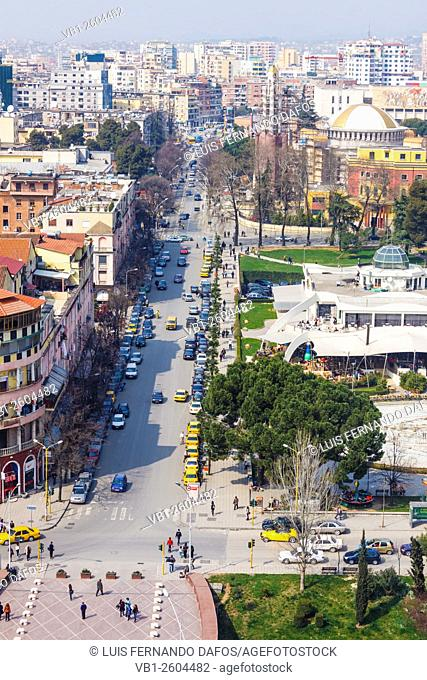 Tirana downtown overview with Rinia Park and Taivani center. Albania