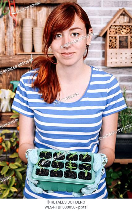 Young woman holding container with tomato seedlings