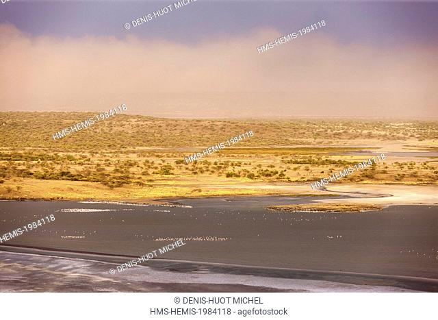 Kenya, lake Magadi, at sunset, aerial view