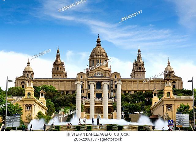View onto the Museu Nacional d'Art de Catalunya, The National Art Museum of Catalunya in Barcelona, Spain