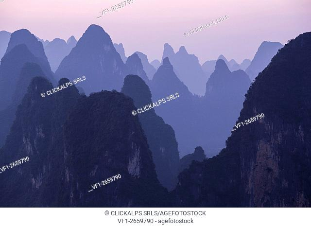 Asia, China, Guilin, Xingping, Karst Mountains