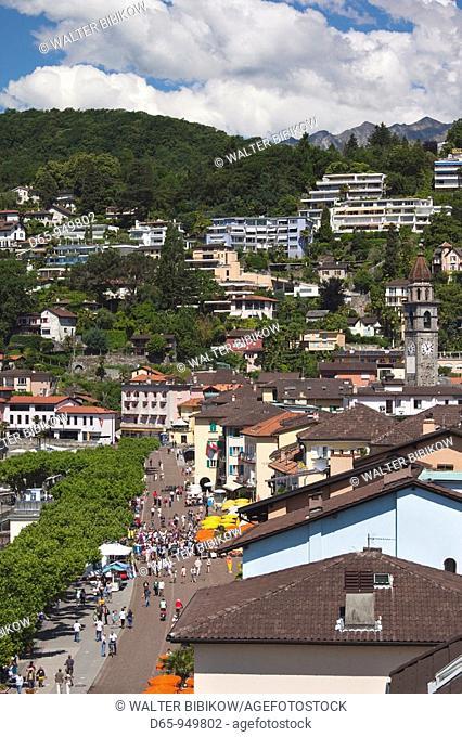 Switzerland, Ticino, Lake Maggiore, Ascona, high angle view of Piazza Motta