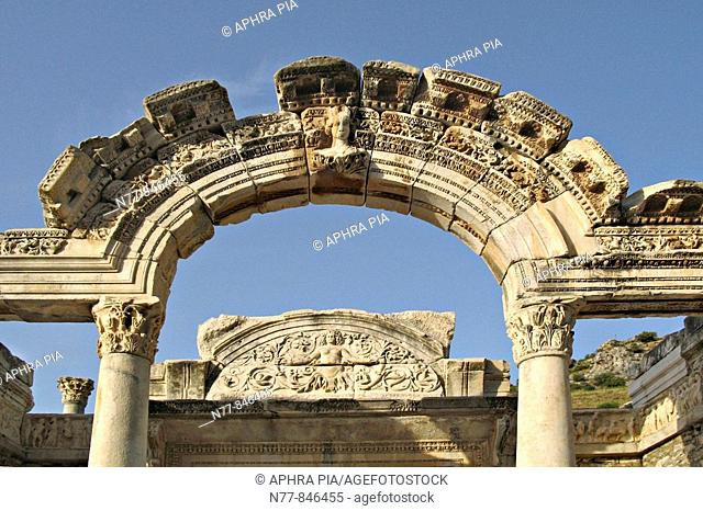 The facade of Hadrian's temple, Turkey Close-up of sculpted friezes at the Roman ruins of Ephesus