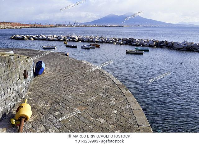 Naples Campania Italy. The gulf of Naples and Mount Vesuvius