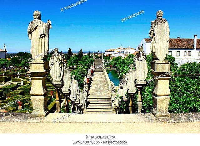 Stairway with statues of portuguese kings, Castelo Branco, Portugal
