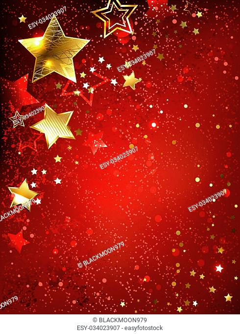 gold stars on red textural background