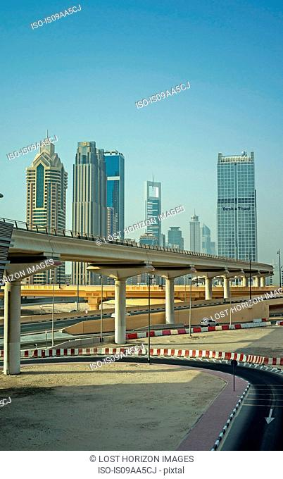 Elevated railway track to downtown Dubai, United Arab Emirates