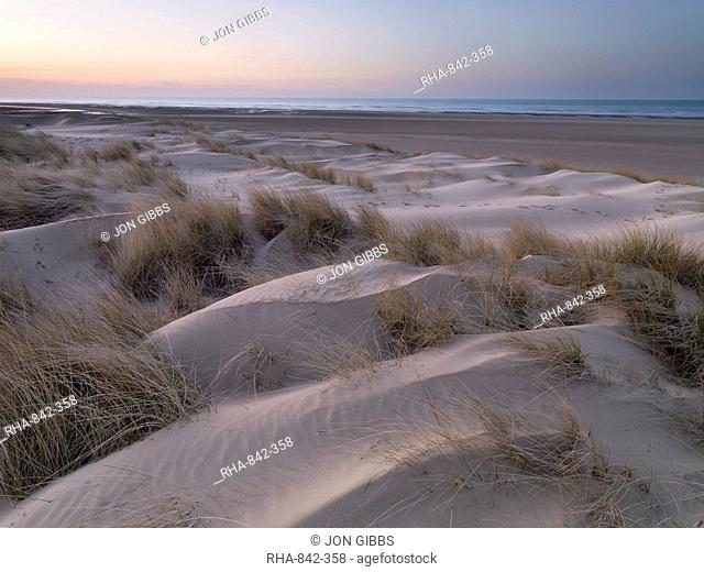 Twilight at the dunes and beach at Holkham Bay, Norfolk, England, United Kingdom, Europe