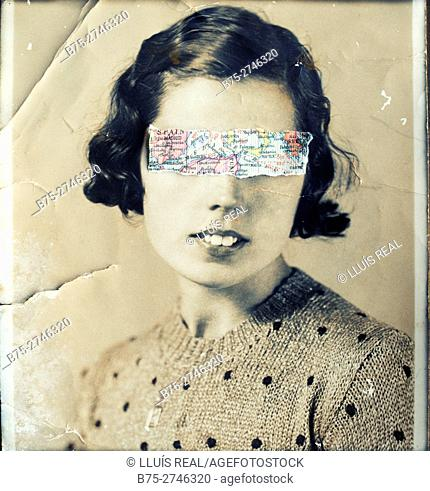 Antique portrait of young woman looking at the camera, with a map fragment covering her eyes
