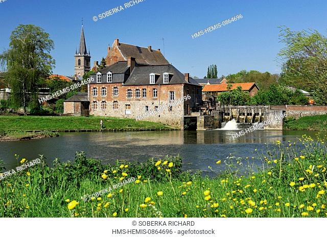France, Nord, Maroilles, Abbey Mill built in the 17th century and the Minor Helpe river