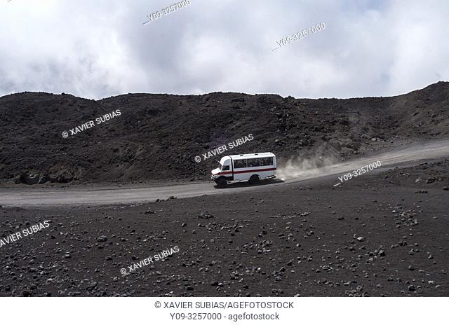 Tourist bus, Mount Etna, Catania, Sicily, Italy
