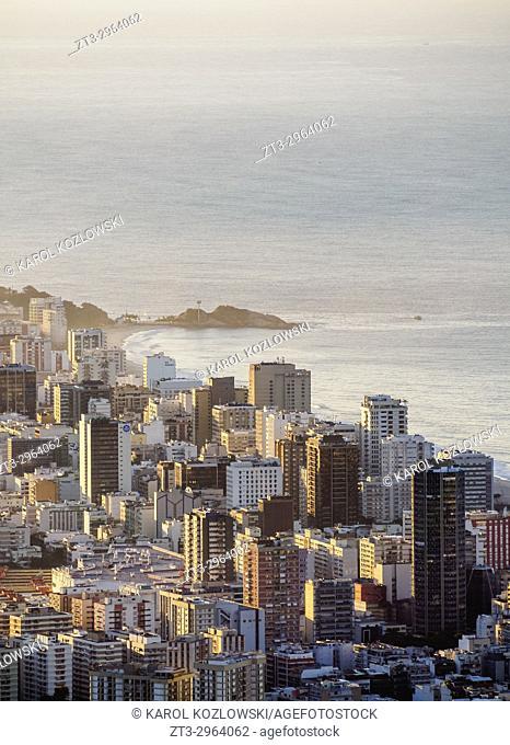 Ipanema Neighbourhood at sunrise, elevated view, Rio de Janeiro, Brazil