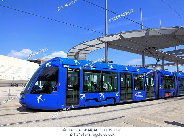 Tramway, public transportation, Montpellier, Languedoc-Roussillon, France