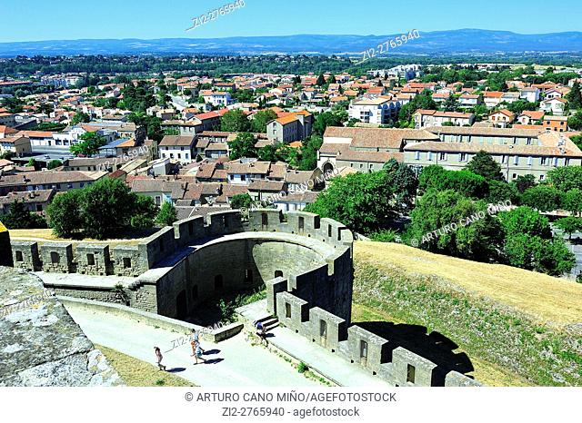 The view of the City from the Castle of the Earls, 13th century. Carcassonne, Aude department, Region of Occitanie, France