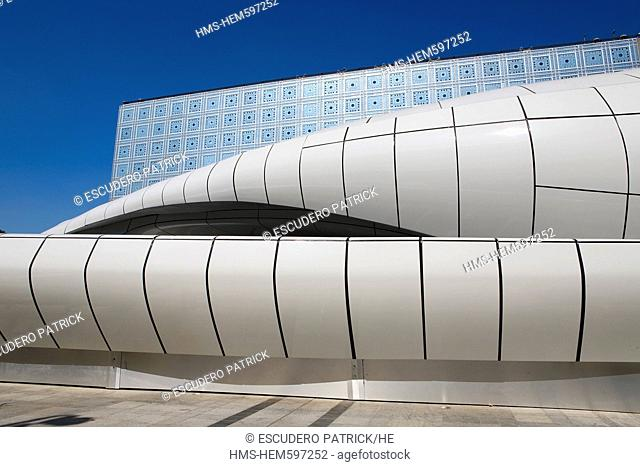 France, Paris, the Mobil art by the architect Zaha Hadid in front of the Intitut du Monde Arabe Arabic Institute by the architect Jean Nouvel and architecture...