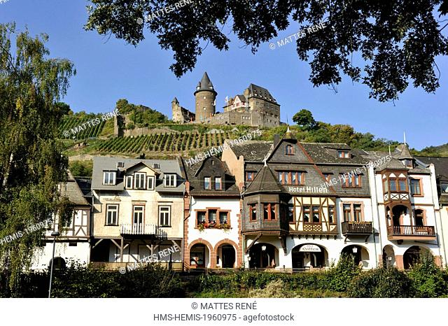 Germany, Rhineland Palatinate, Bacharach, the (Burg) Stahleck castle, the romantic Rhine listed as World Heritage by UNESCO