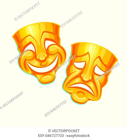 illustration of a golden comic and tragic theater mask in a cartoon style