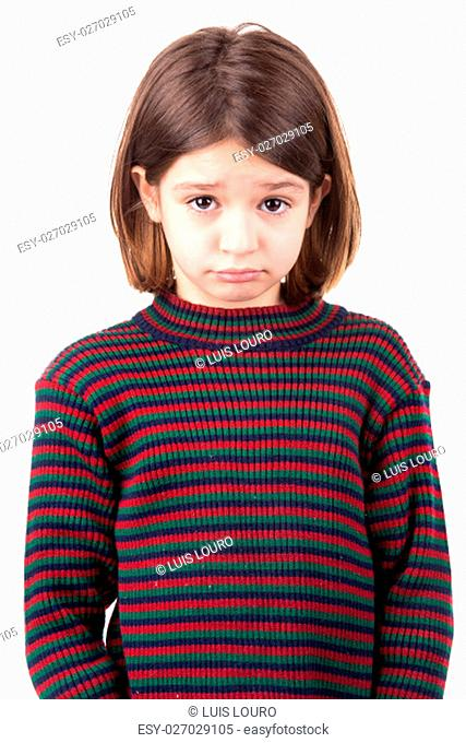 Young girl making sad face isolated in white