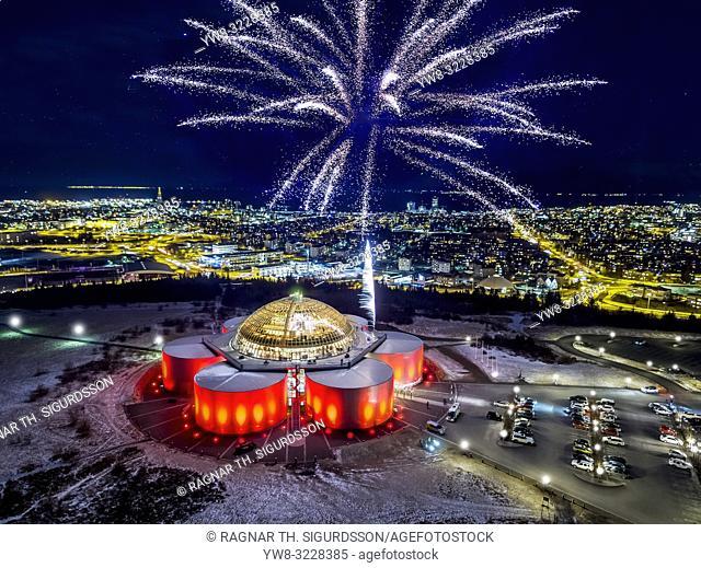 Fireworks, Perlan Museum (The Pearl) Reykjavik, Iceland.