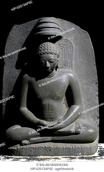 STONE CARVING OF MAHAVEER IN STATE MUSEUM, VIJAYAWADA, ANDHRA PRADESH,INDIA
