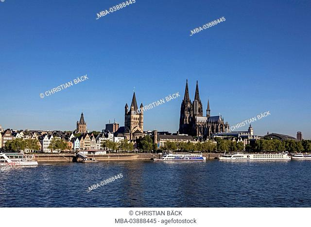 townscape Cologne Cathedral, Church Groß St. Martin at the Rhine River, Cologne, North Rhine-Westphalia, Germany