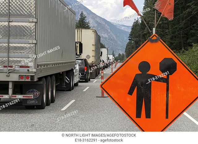 Canada, BC, Boston Bar. Road work sign, and traffic backup on Tans Canada Highway 1