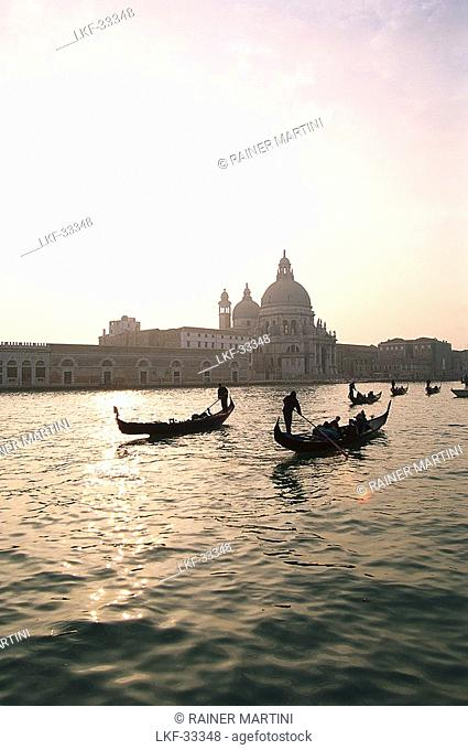 Gondolas on the Canale Grande at sunset, Venice, Italy, Europe