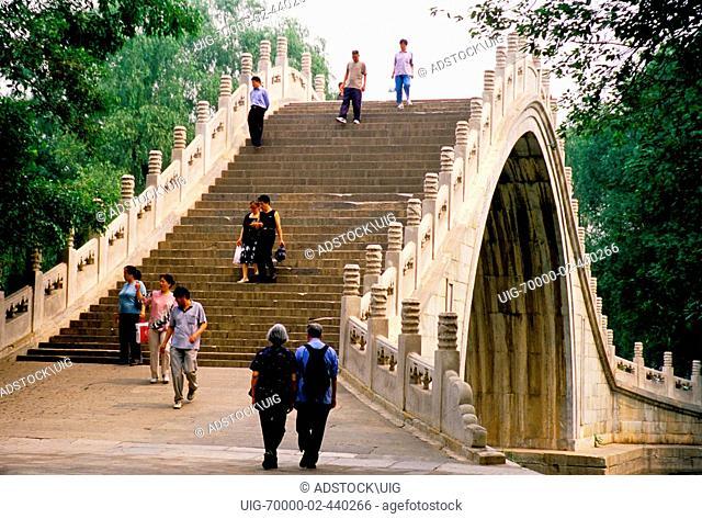 Summer Palace's Jade Belt Bridge Yudai Qiao over inlet from Yu River to Kunming Lake
