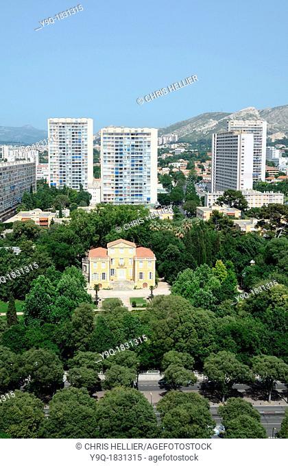 Aerial View of c18th Bastide de la Magalone Park & Tower Blocks in Suburbs of Sainte-Marguerite Marseille or Marseilles France