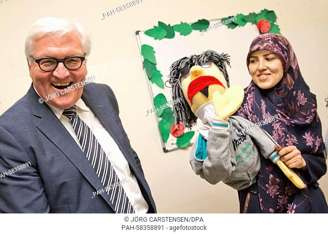 German Foreign Minister Frank-Walter Steinmeier (SPD) visits a community centre where Syrian refugees doing leisure activities, in Beirut, Lebanon, 15 May 2015