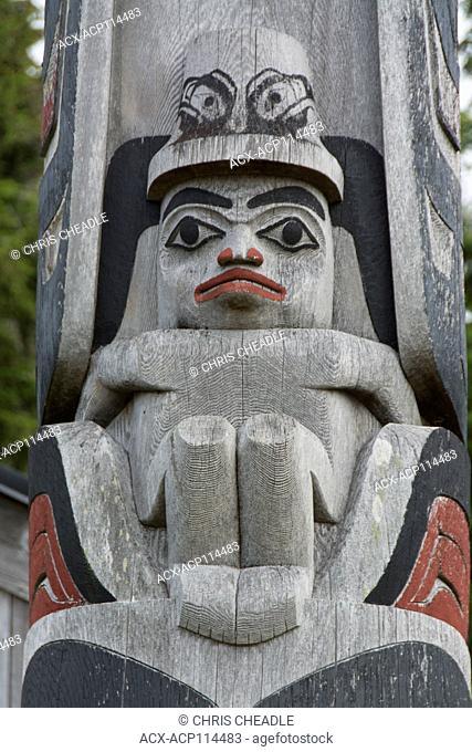 Totem pole detail, Haida Arts & Jewellery, Haida Gwaii, formerly known as Queen Charlotte Islands, British Columbia, Canada