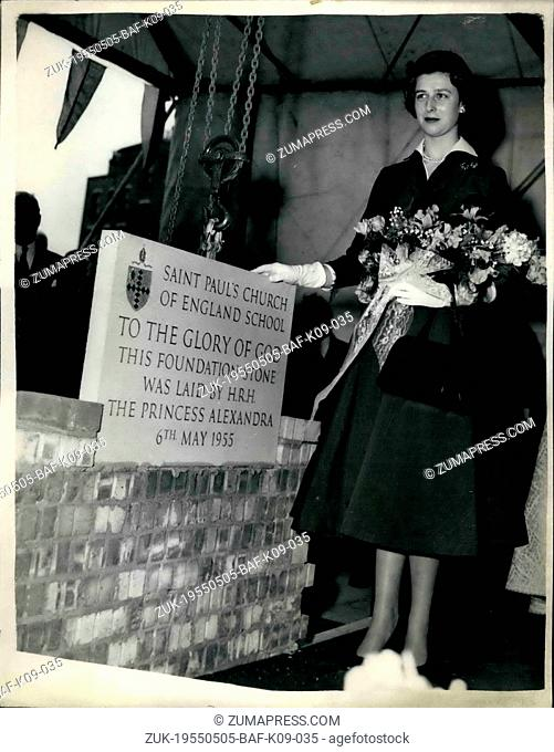 May 05, 1955 - Princess Alexandra Lays Foundation stone; H.R.H. Princess Alexandra this afternoon laid the foundation stone for the new St