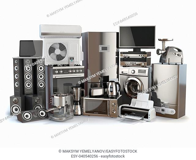 Home appliances. Gas cooker, tv cinema, refrigerator air conditioner microwave, laptop washing machine, blender toaster coffee machine, meat ginder and kettle