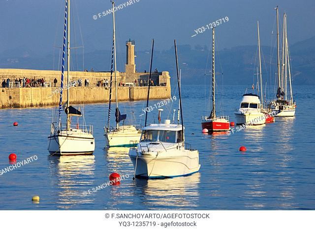 Boats and breakwater. Port of Castro Urdiales, Cantabria, Spain