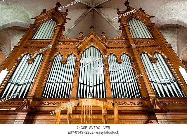 Beautiful organ with a lot of pipes